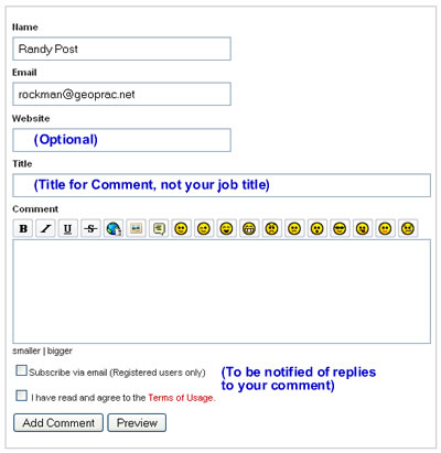 Comment Form from GeoPrac.net