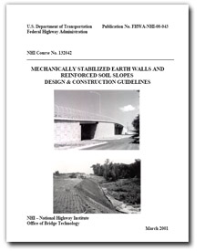 Cover of FHWA NHI Mechanically Stabilized Earth Walls and Reinforced Slopes Design and Construction Guidelines course manual.