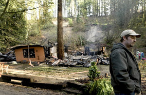 Oregon man laments losing his house to fire after a landslide knocked it off its foundation