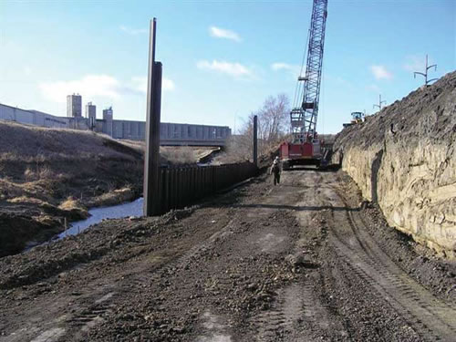 Sheet pile wall from City of Lincoln, Nebraska stream bank repair project. Photo by the City of Lincoln.