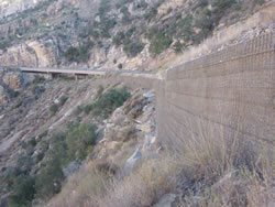 Wire-faced MSE wall along Catalina Highway, Mt. Lemmon, near Tucson, Arizona. Photo courtesy of NCS Consultants.