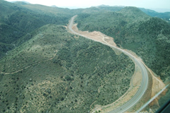 Overview of SR 87 landslide and highway corridor, looking roughly South