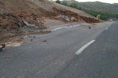 Buckled roadway from SR 87 landslide.