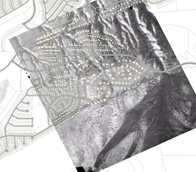 Development overlayed on aerial photo of landslide deposits along Wasatch front in Utah