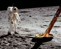 Astronaut Edwin E. Aldrin near a leg of the Lunar Module