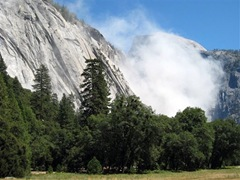 A plume of dust at Yosemite National park after a rock slide Wednesday, Aug. 26, 2009. Photo by National Park Service, Erik Skindrud.