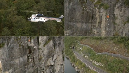 Helicopter sledgehammer used to scale loose rocks from a cliff in Norway.