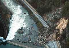 Aerial photo of Highway 65 Landslide in Tennessee by Dennis Hutcheson