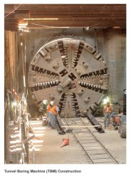 Tunnel Boring Machine (TBM) construction on the Trans-Hudson Express Tunnel Project