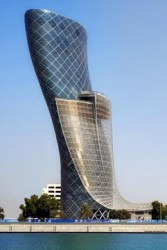 Capital Gate building in Abu Dhabi, UAE was designed to slant by 18-degrees