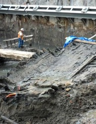 18th Century Ship in foundation excavation for WTC Vehicle Security Building