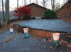 16-in landslide scarp in the driveway of a Macon County, NC home