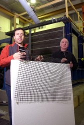 Zarnani and Bathurst display the geogrid and geofoam they are using in earthquake mitigation research