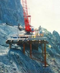 Big Sur coastline where new Pitkins Curve Bridge is being built on CA Highway 1