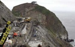 Repairs to the old Devil's Slide landslide area on CA Highway 1, soon to be abandoned when the tunnel bypass opens.