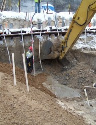 Nicholson's anchored secant pile wall to facilitate removal of contaminated soilin Bellaire Michigan