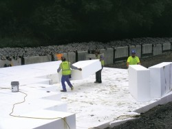 Moving EPS geofoam blocks
