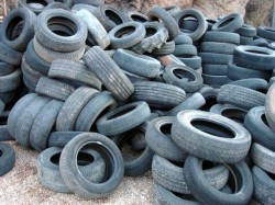 Used tires ready for recycling