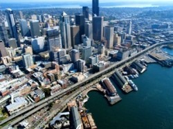 Seattle skyline with aging SR 99, Alaskan Way Viaduct in the foreground