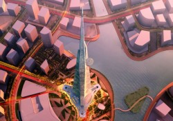 Aerial view of proposed Kingdom Tower