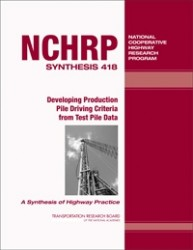 TRB Publication: Developing Production Pile Driving Criteria from Test Pile Data