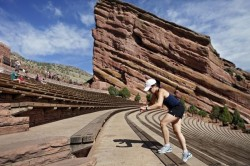 Rock formation at Red Rocks Amphitheater that experienced rockfall injuring 7
