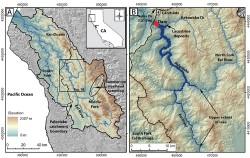 Ancient landslide on the Eel River in California