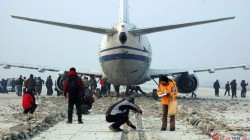Airplane stopped by foamed concrete EMAS system