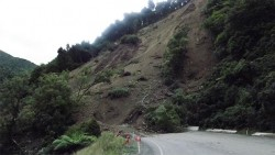Landslide in Waioeka Gorge in New Zealand