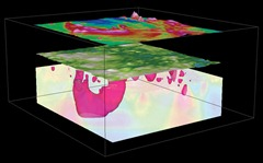 A Geosoft VOXI 3D earth model with high susceptibility indicated as a solid volume, overlain with topography and residual magnetics; useful as an aid in mineral exploration, when prospecting or targeting drillholes