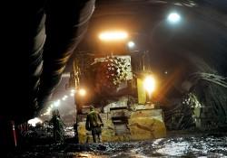 A roadheader inside the Caldecott Fourth Bore Tunnel