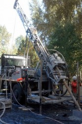 Crux core rig working on a challenging coring project in Bellevue, Washington