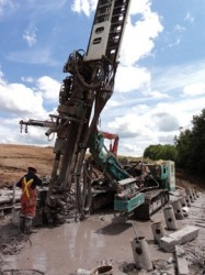 Geo-Foundations Contractors of Canada installing micropiles on the Nova Scotia Highway 104 West River Bridge project