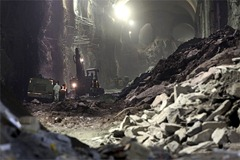 In this Tuesday, Jan. 29, 2013 photo, contractors work on the East Side Access project beneath midtown Manhattan, in New York.