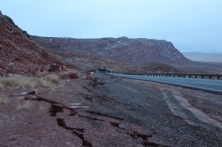US 89 Landslide - Cracks showing the failure is larger than it seems in some photos