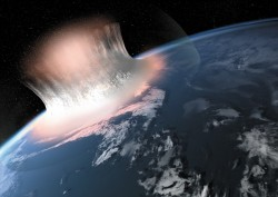 Artist rendering of a giant meteorite impact in Greenland some 3 billion years ago
