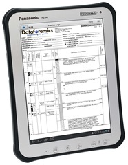 Dataforensics pLog Tablet Software running on ruggedized Panasonic Toughpad A1