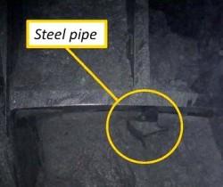 Steel pipe blocking Bertha's cutterhead