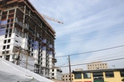 The developers 17-story apartment building is near completion