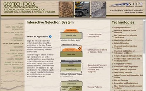 Geotech Tools Interactive Selection System for ground improvement and geoconstruction technologies