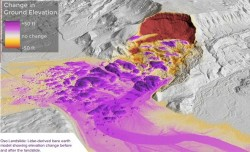 LiDAR Topography of Oso Landslide showing amount of elevation change