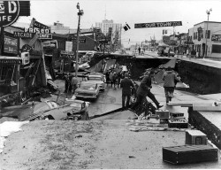 Damage on Fourth Avenue in Anchorage Alaska after the Good Friday Earthquake of 1964