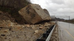 House-sized boulder closed westbound US 52 near the Ohio River
