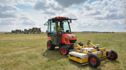 Ground penetrating radar (GPR) antenna mounted on a small tractor surveying near the Stonehenge monument as part of a larger project that identified a row of 90 previously undiscovered stones less than 3 km from Stonehenge.