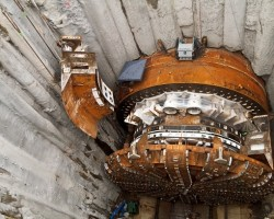 One of the final pieces of the Bertha TBM being lowered into place