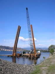 Pile driving on the west side approach of the W. R. Bennett bridge in Kelowna, British Columbia, Canada, June 2006