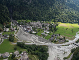 Debris flow in town of Bondo Switzerland following August 25, 2017 landslide