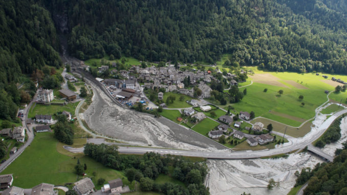 Debris flow in town of Bondo Switzerland following August 25, 2017 landslide