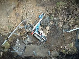 Micropile drill rig damaged by landslide