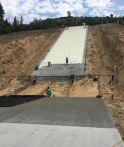 Concrete GEOWEB ski jump nearly complete.